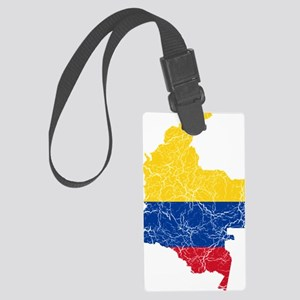 Colombia Flag and Map Cracked Large Luggage Tag