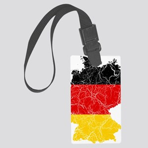 Germany Flag and Map Cracked Large Luggage Tag
