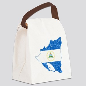 Nicaragua Flag and Map Cracked Canvas Lunch Bag