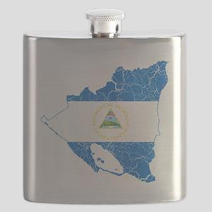 Nicaragua Flag and Map Cracked Flask