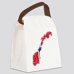 Norway Flag and Map Cracked Canvas Lunch Bag