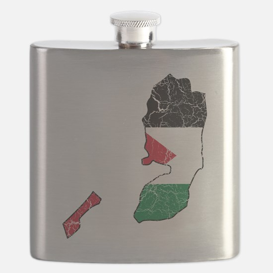Palestine Flag and Map Cracked Flask
