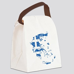 Greece Flag and Map Cracked Canvas Lunch Bag