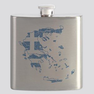 Greece Flag and Map Cracked Flask