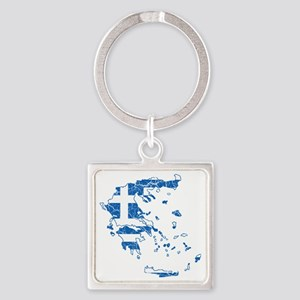 Greece Flag and Map Cracked Square Keychain