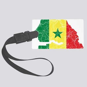 Senegal Flag and Map Cracked Large Luggage Tag