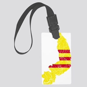 South Vietnam Flag and Map Crack Large Luggage Tag