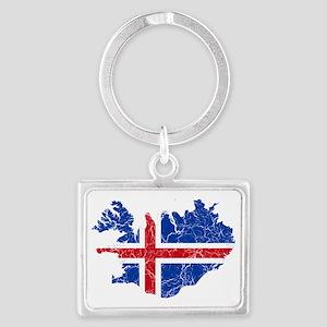 Iceland Flag and Map Cracked Landscape Keychain
