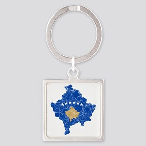 Kosovo Flag and Map Cracked Square Keychain