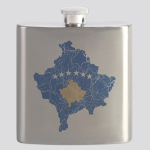 Kosovo Flag and Map Cracked Flask