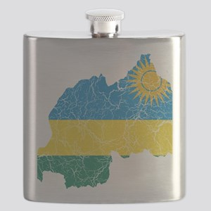 Rwanda Flag and Map Cracked Flask