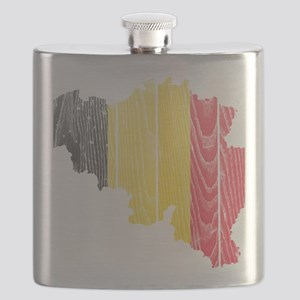 Belgium Flag and Map Wood Flask