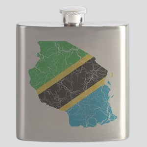 Tanzania Flag and Map Cracked Flask