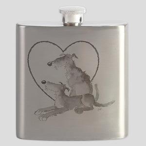 Scottish Deerhounds in Heart Flask