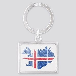 Iceland Flag and Map Wood Landscape Keychain