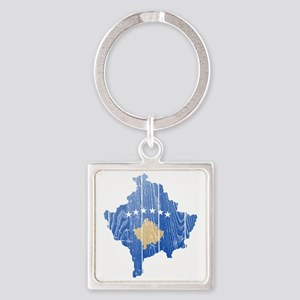 Kosovo Flag and Map Wood Square Keychain