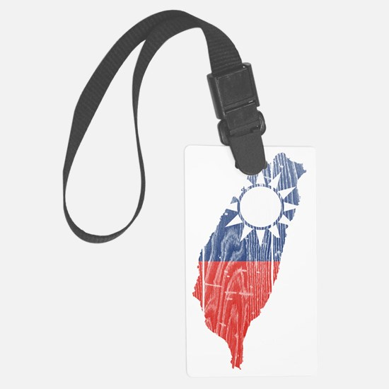 Taiwan( R O C) Flag and Map Wood Luggage Tag