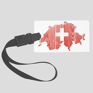 Switzerland Flag and Map Wood Large Luggage Tag