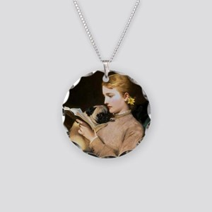 Pug Love Necklace Circle Charm