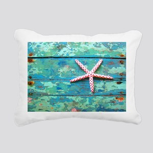 Starfish on Turquoise Ta Rectangular Canvas Pillow