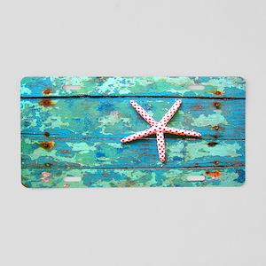 Starfish on Turquoise Table Aluminum License Plate