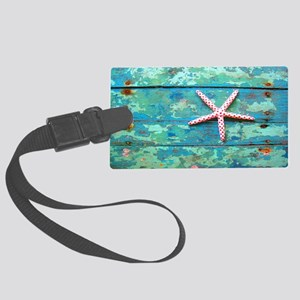 Starfish on Turquoise Table Shou Large Luggage Tag