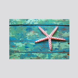 Starfish on Turquoise Table Shoud Rectangle Magnet