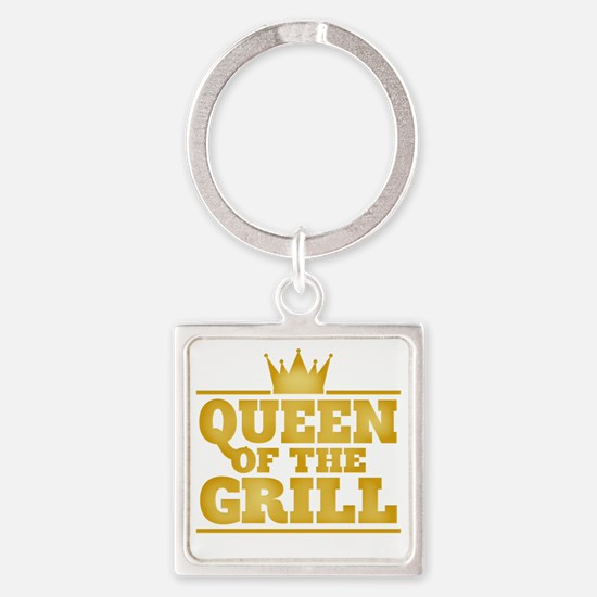 Queen of the Grill Square Keychain