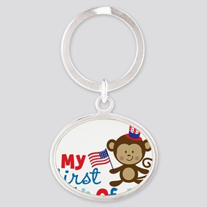 Monkey My First 4th of July Oval Keychain
