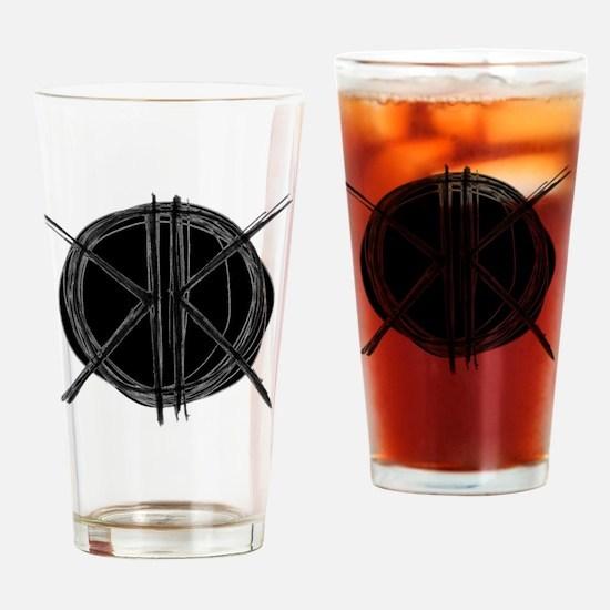 Dark Initials Drinking Glass