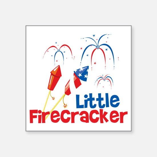 "4th of July Little Firecrac Square Sticker 3"" x 3"""
