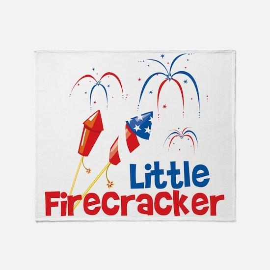 4th of July Little Firecracker Throw Blanket