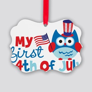 Owl My First 4th of July Picture Ornament