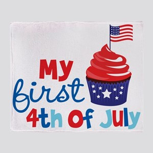 Cupcake First 4th of July Throw Blanket