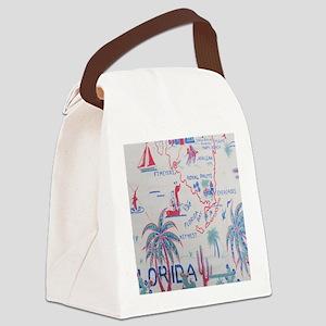 Florida Map Flip Flops Canvas Lunch Bag