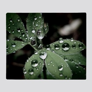 Drops on Leaves Throw Blanket