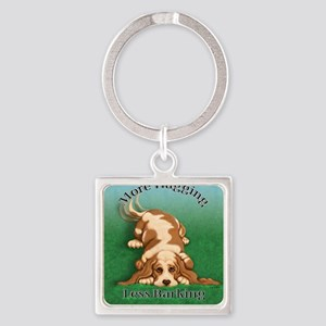 More Wagging Square Keychain