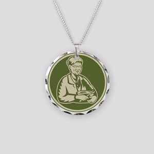 Granny Grandmother Cooking M Necklace Circle Charm