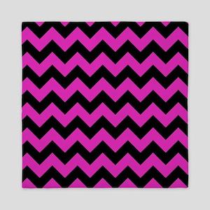 Pink, Black Chevron Queen Duvet