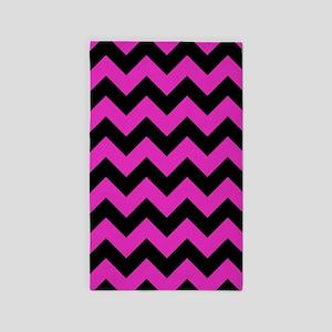 Pink, Black Chevron 3'X5' Area Rug