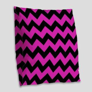 Pink, Black Chevron Burlap Throw Pillow