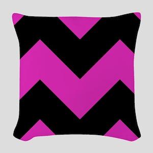 Pink, Black Chevron Woven Throw Pillow