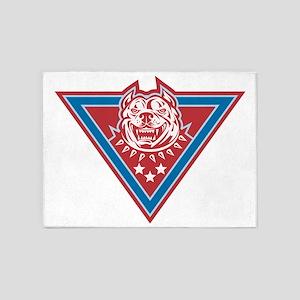 Pitbull Mongrel Dog Head Retro 5'x7'Area Rug