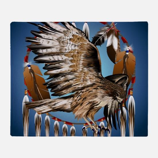Dream Catcher Hawk Throw Blanket