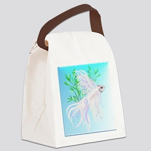 White Siamese Fighting Fish Canvas Lunch Bag