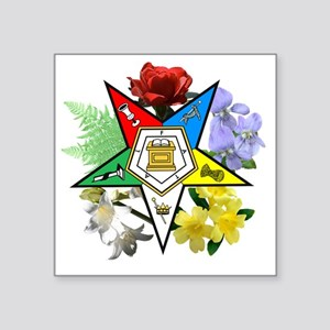 "OES Floral Emblem Square Sticker 3"" x 3"""