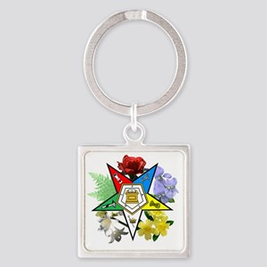 OES Floral Emblem Square Keychain