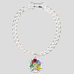 OES Floral Emblem Charm Bracelet, One Charm