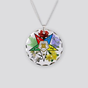 OES Floral Emblem Necklace Circle Charm