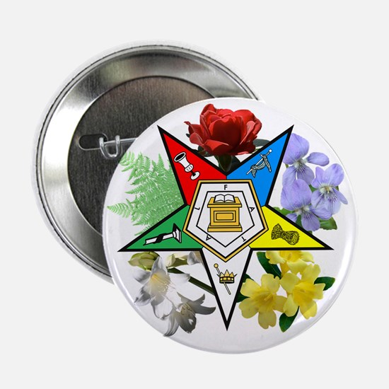 "OES Floral Emblem 2.25"" Button"